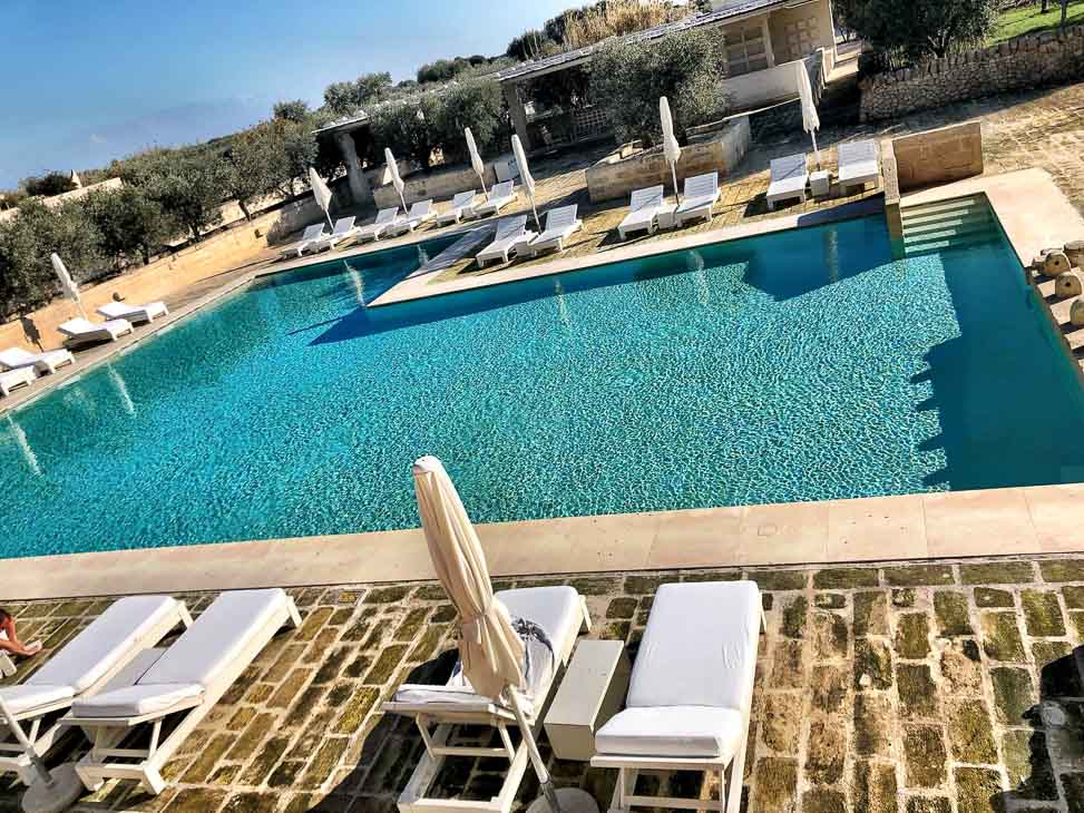 The outdoor swimming pool at Borgo Egnazia