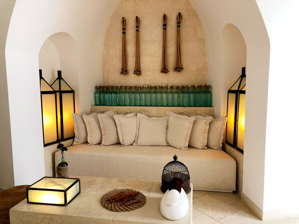 couch in an enclove in borgo egnazia