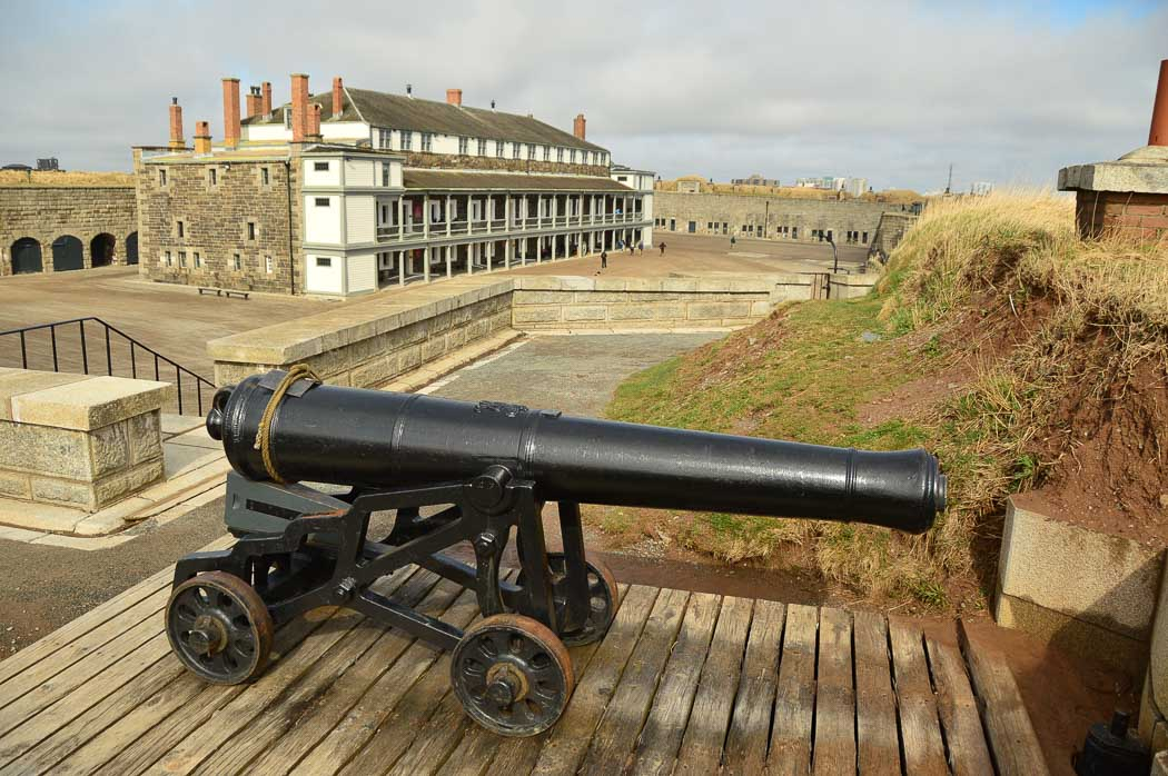 cannon and building at the halifax citadel