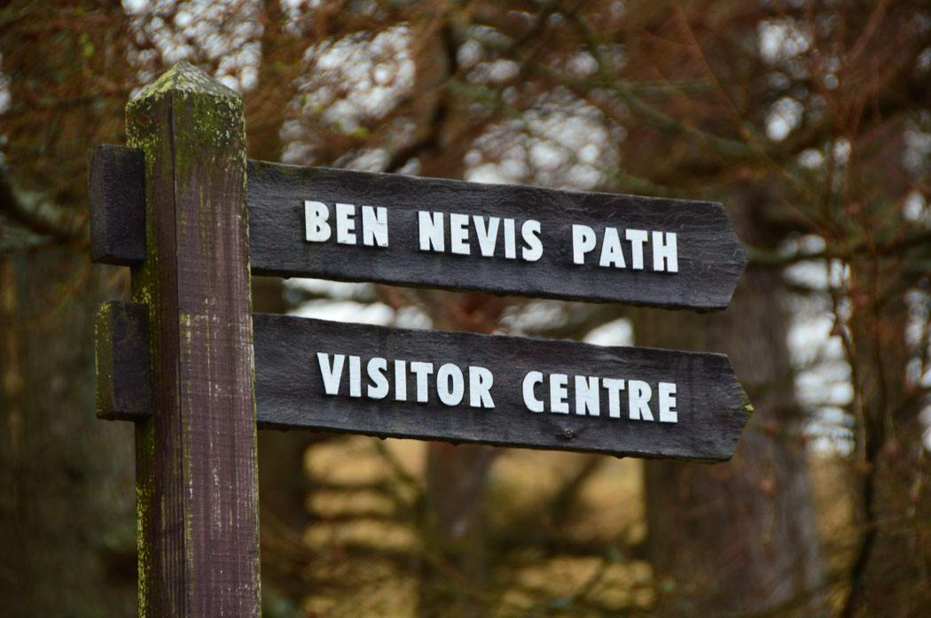 sign for the Ben Nevis Path and Visitor Centre