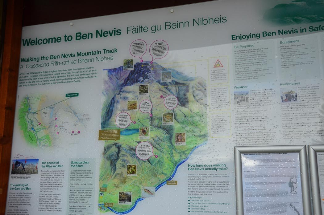 Welcome sign to Ben Nevis with a full map