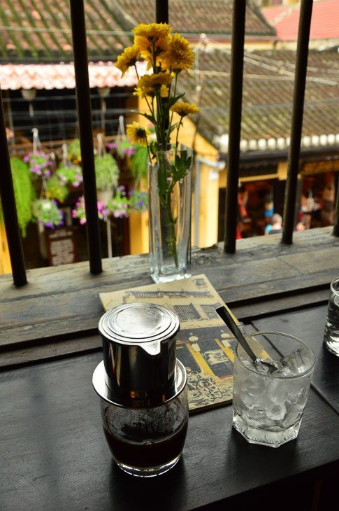 vietnamese coffee on a terrace