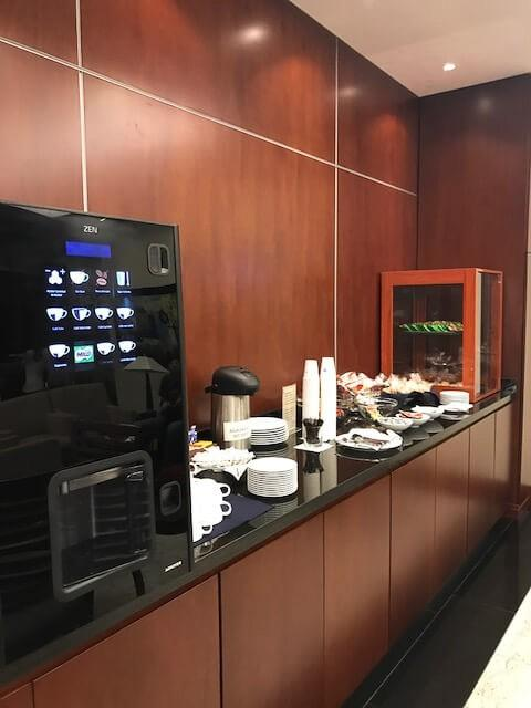 lounge at medellin airport for iberia business class with coffee and tea station