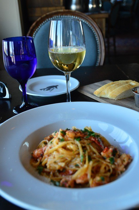 Pasta and tidal bay at The Bicycle Thief
