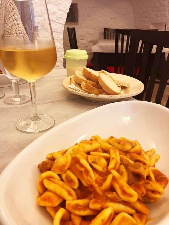 pasta and glass of wine