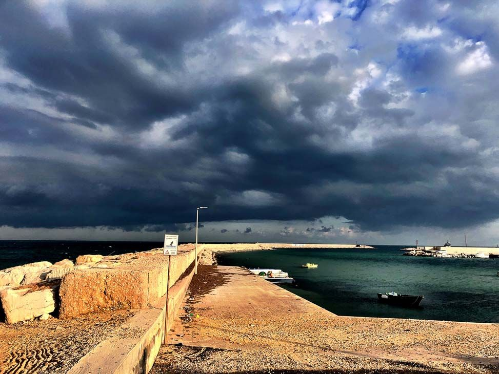 Stormy clouds on the waterfront in Savelltri