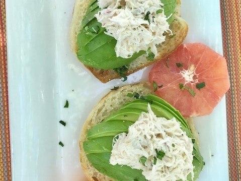 avocado, crab and grapefruit on english muffins at solbar breakfast