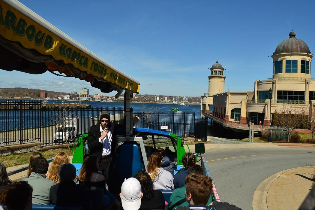 halifax harbour hopper tour with tour guide about to head into the water