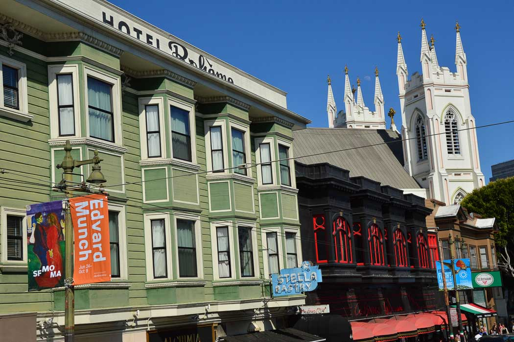 Colourful buildings on the streets of San Francisco