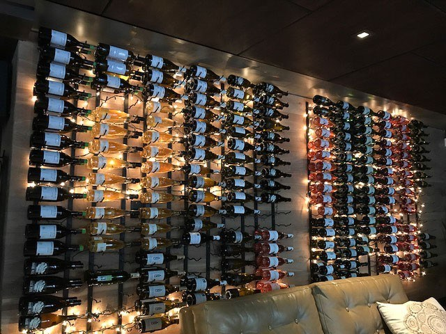 Display of wine at san francisco wine bar