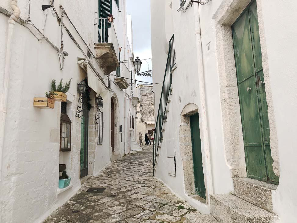 white paved backstreets of Ostuni