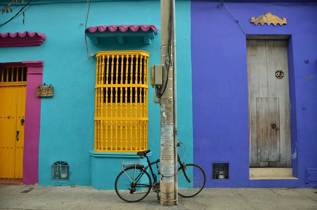 colourful buildings with bike parked outside