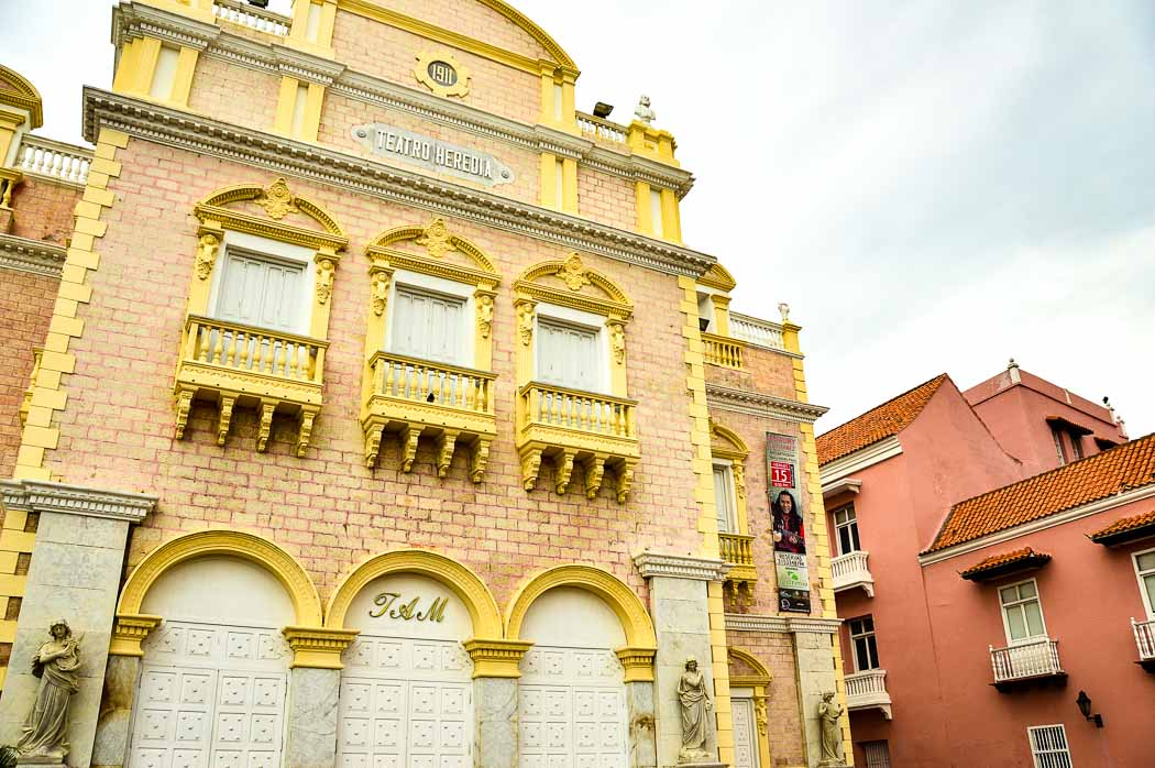 pink building with yellow trim in Cartagena