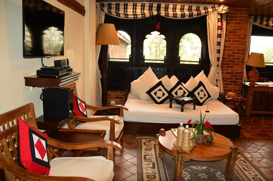 living area of a suite in dwarika's hotel in kathmandu