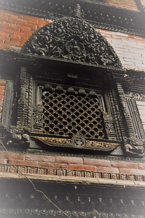 historic window frame at the dwarika hotel kathmandu