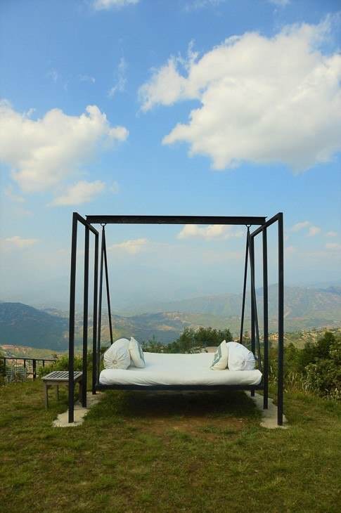 dwarika's resort dhulikhel bed swing with broad view