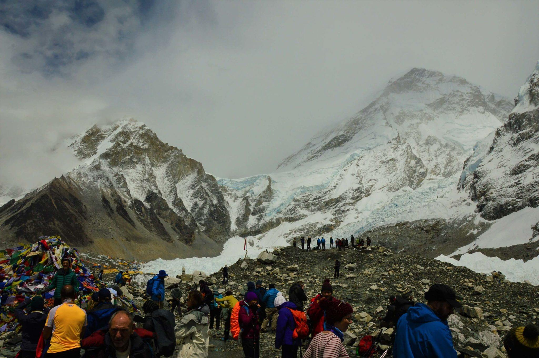 everest base camp with mountains and icefall in background