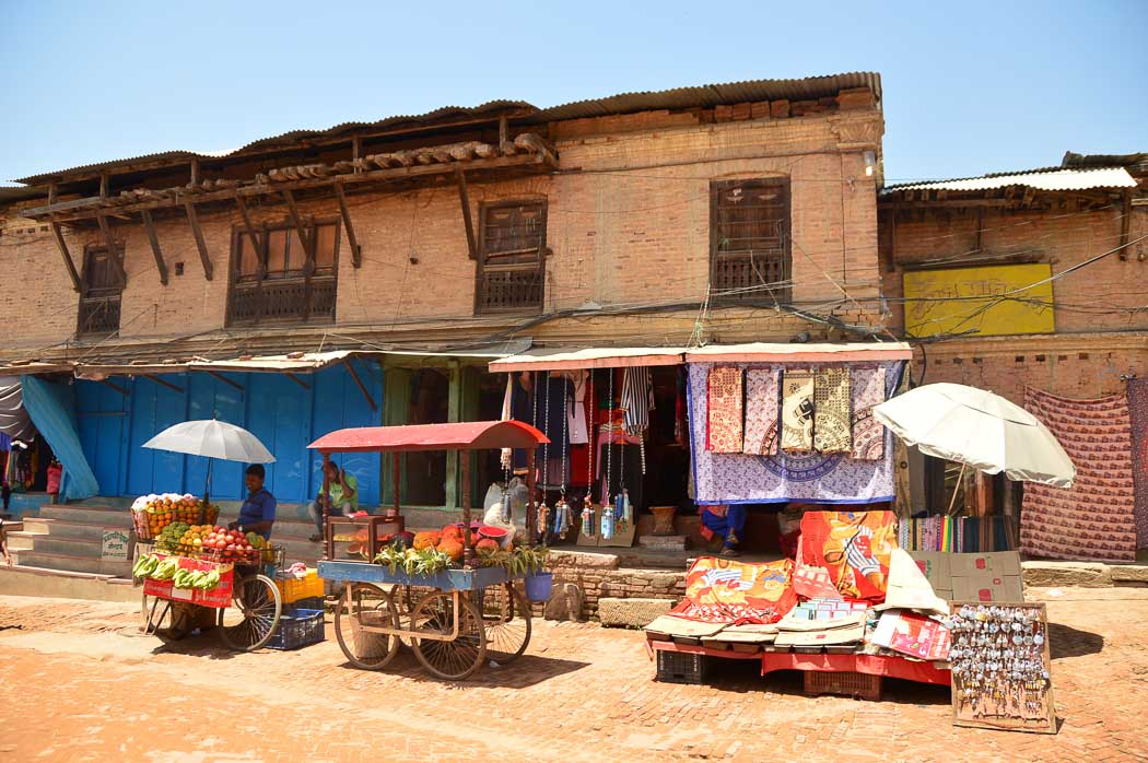 shops on a street in bhaktapur nepal
