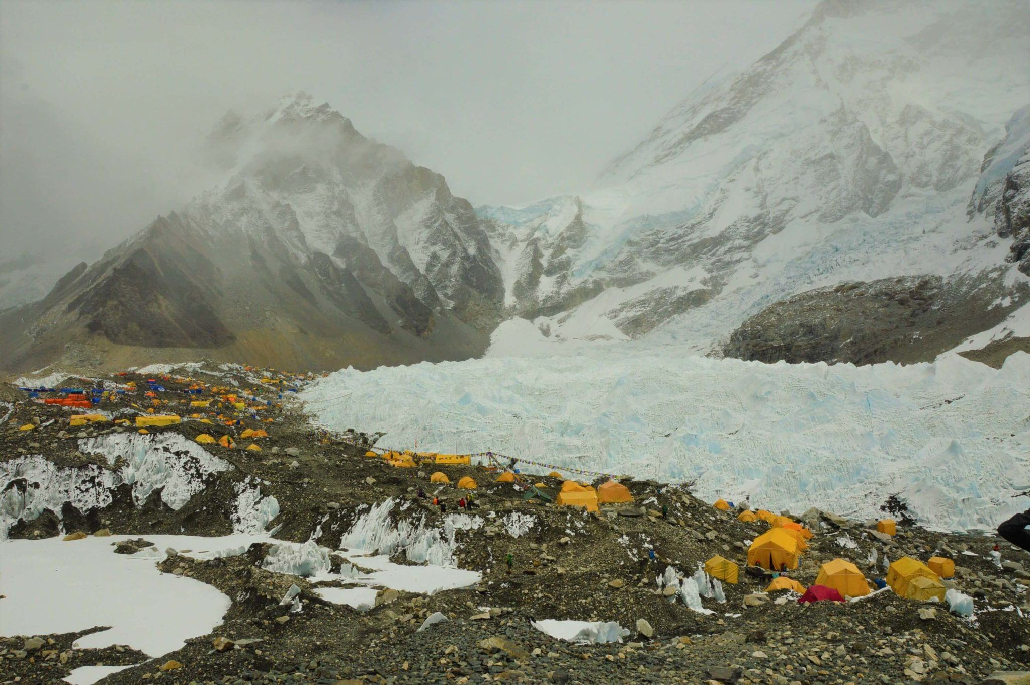 everest base camp with yellow tents