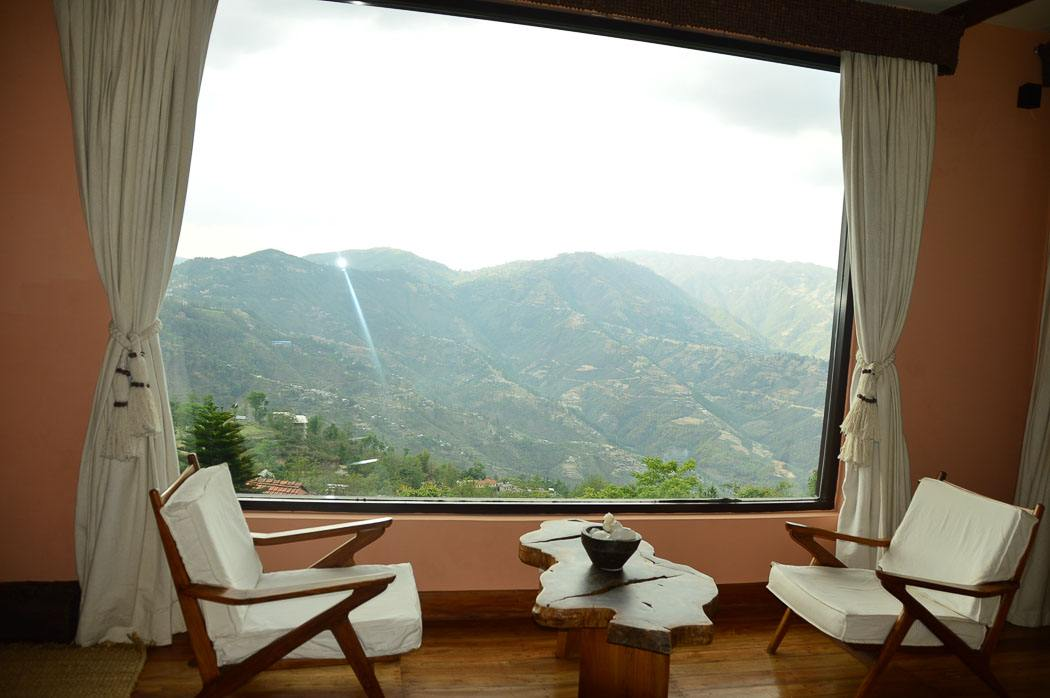 view over the himalayas from a room at Dwarika's Dhulikhel resort nepal