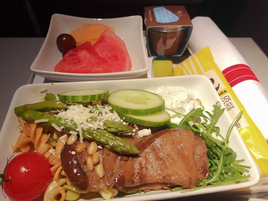 american airlines premium economy salad meal