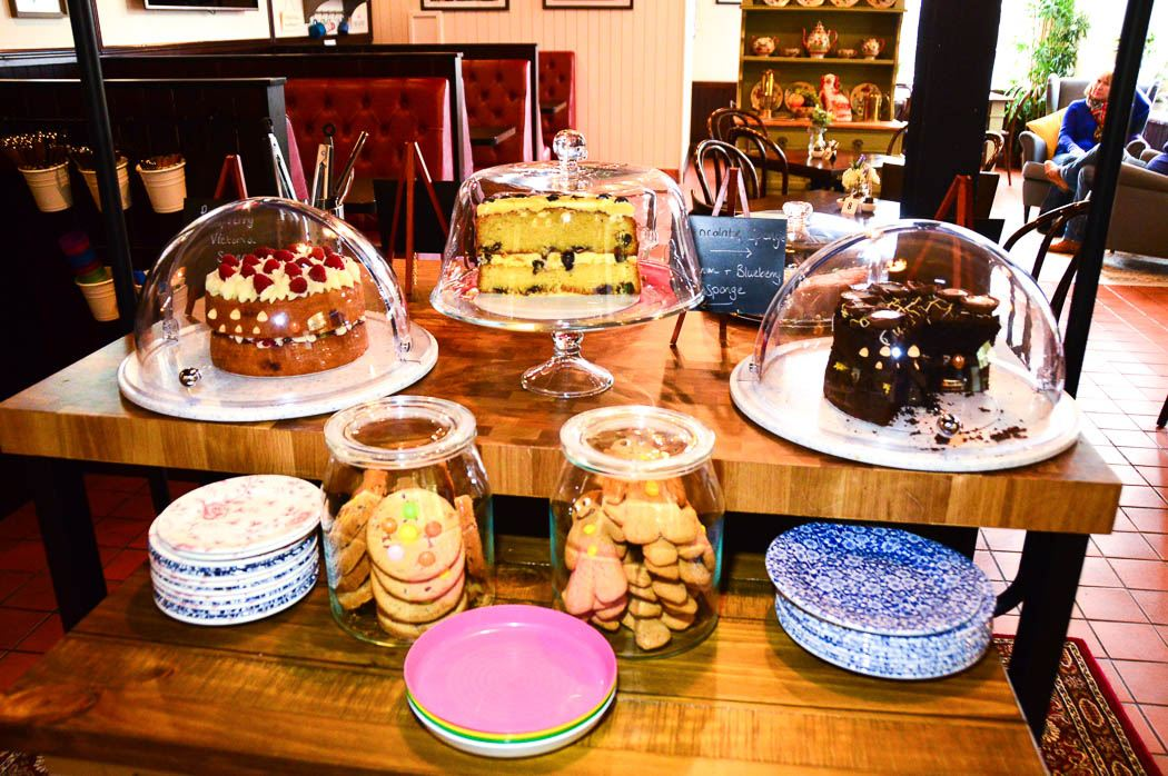 Cakes on display at the Bracchi Cafe