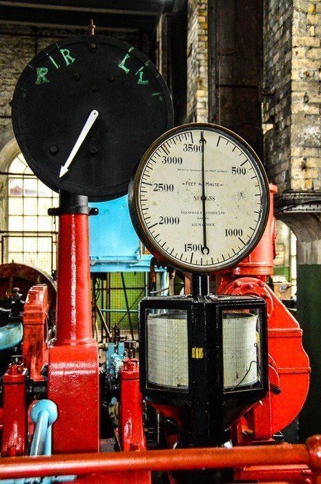Colourful pressure guages at the welsh mining experience