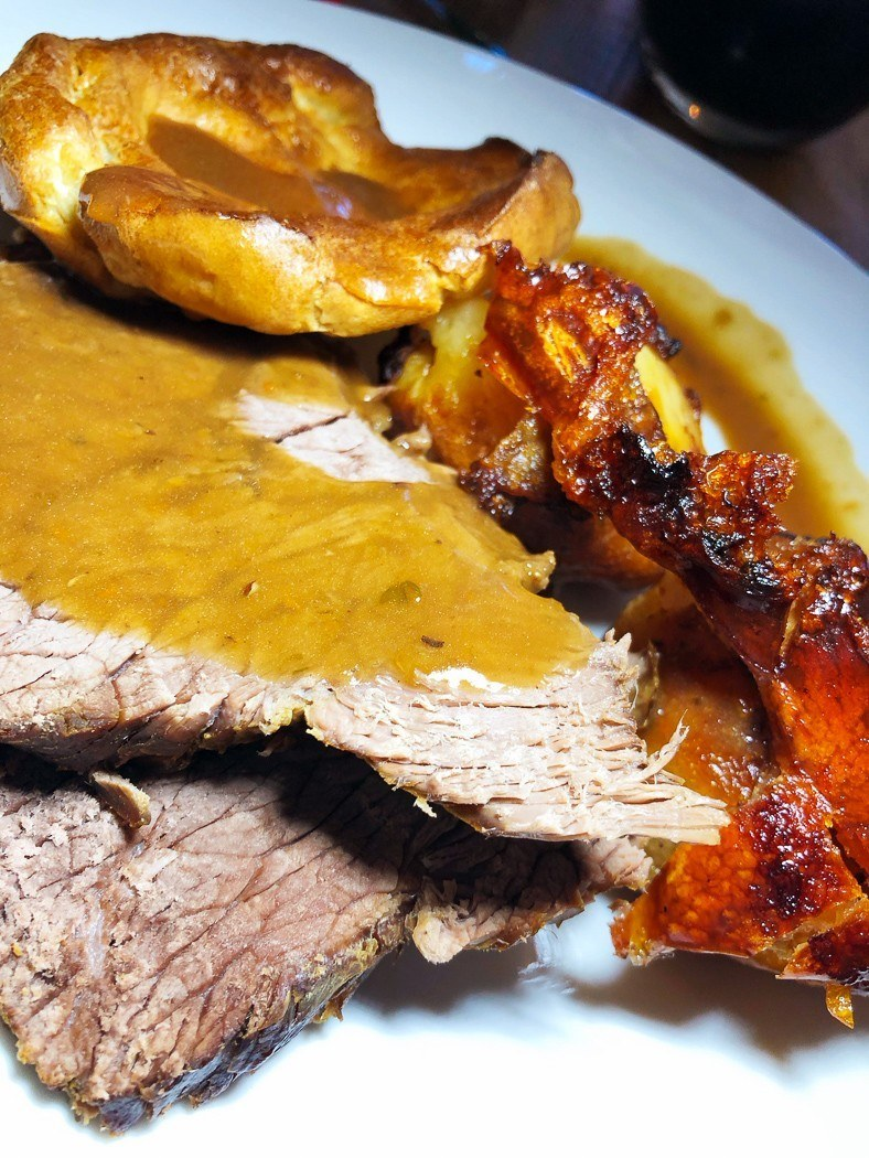 places to visit near cardiff - Woodlands Bistro roast beef with gravy and yorkshire pudding