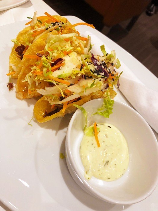 tacos with sauce at the american airlines lounge at JFK airport New york