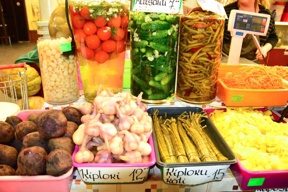 Pickled goods on display at Riga Central Market