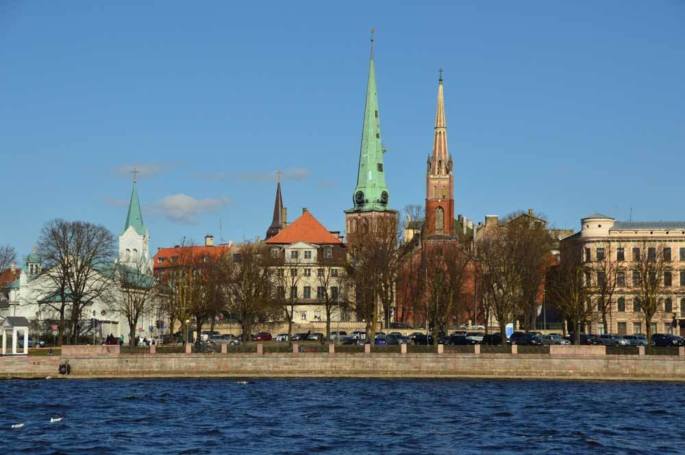 View of Riga Old Town from the canal boat