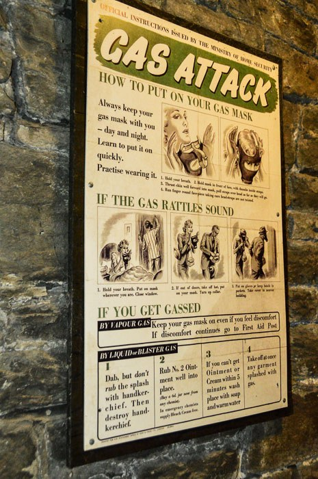 Gas attack poster from the tunnels underneath Cardiff Castle