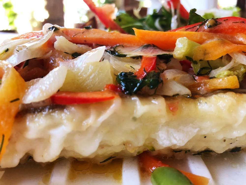 fillet of perch with vegetables close up at Restaurant Jura Jurmala
