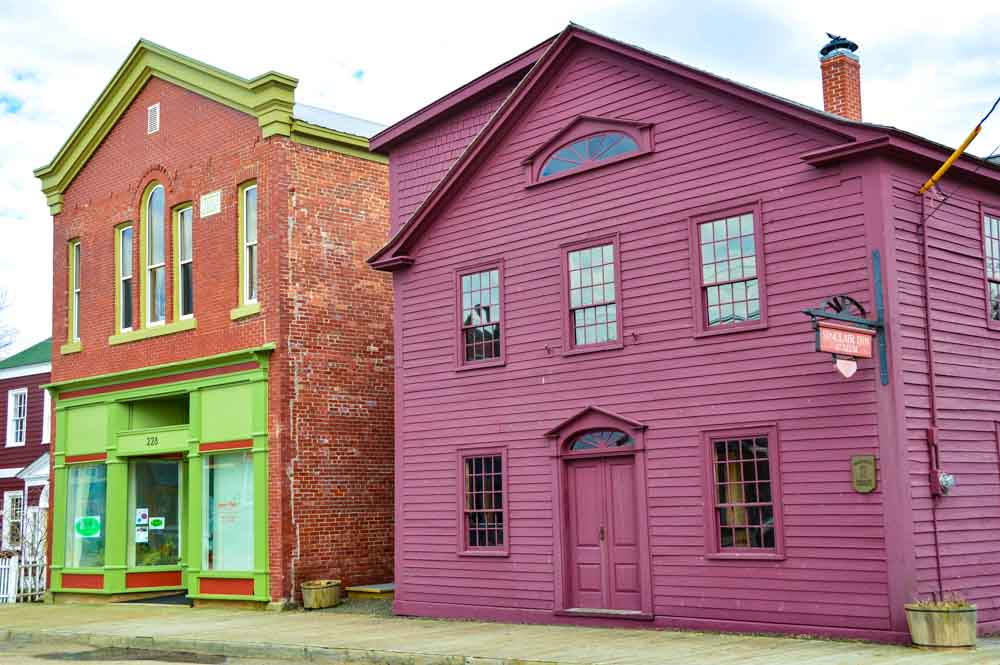 colourful houses on the street in Annapolis Royal