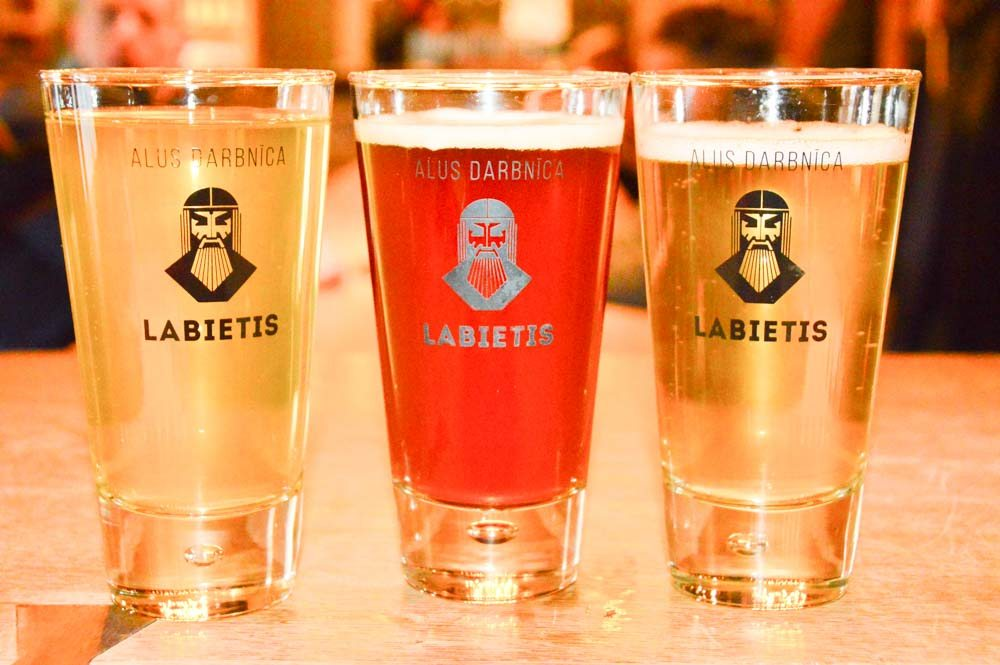 small colourful beers in glasses at Labietis
