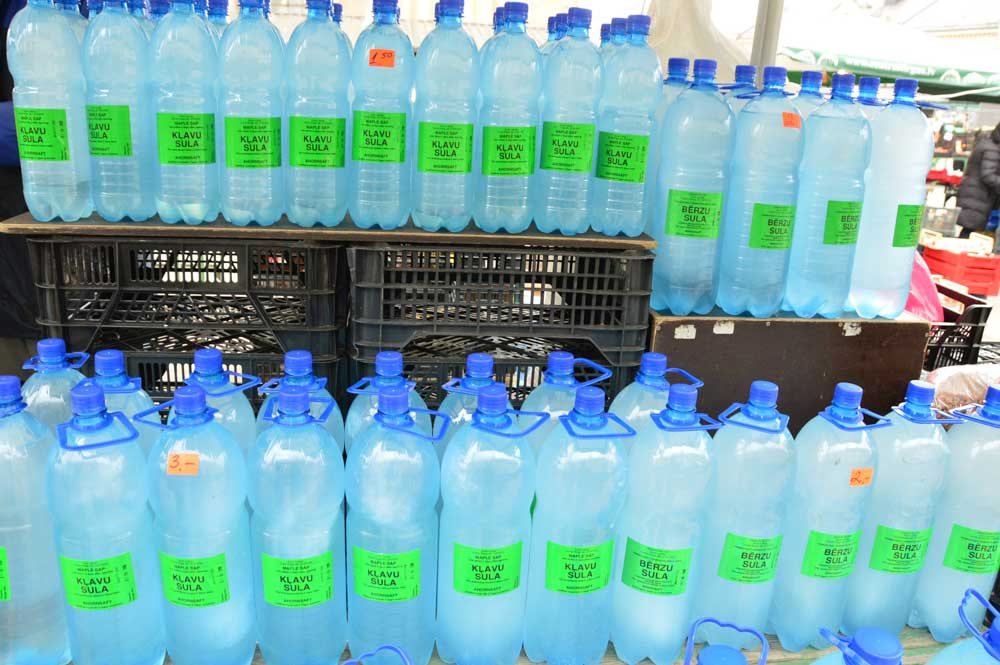 bottles of map saple water at Riga Central Market