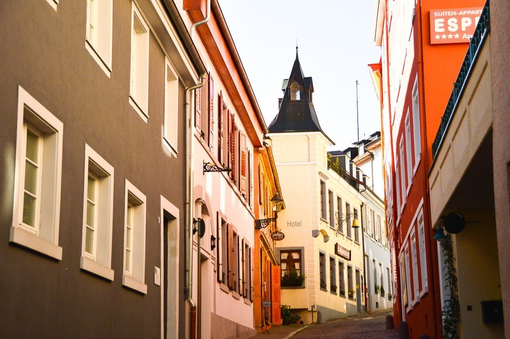 colourful houses in the streets of Baden Baden Germany