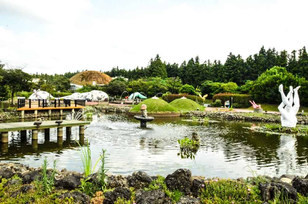 love land jeju island lake and sculptures