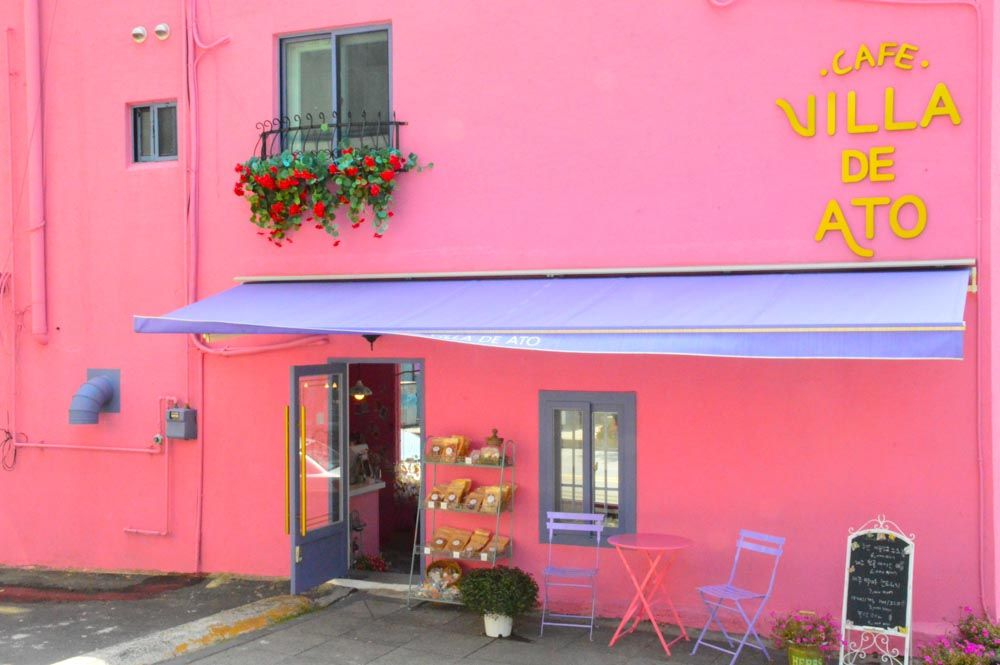 exterior of cafe villa de ato jeju island