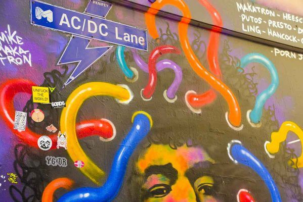 ACDC lane with street art