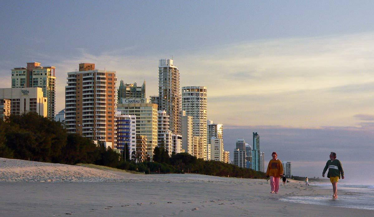 Gold coast beach with high rise buildings