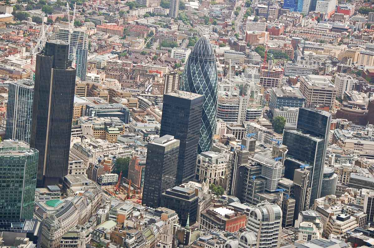 City of London photographed from a helicopter