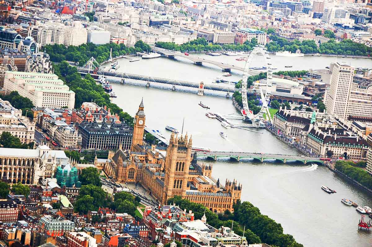 Central London around the thames seen from a helicopter
