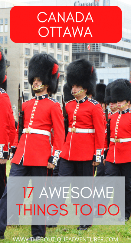 army officers in red jackets and black hats at the changing of guard ceremony ottawa canada