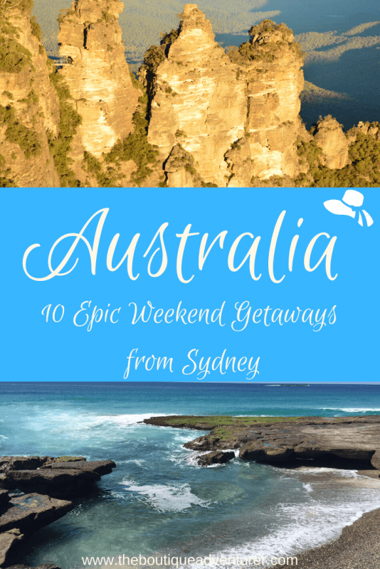three sisters rock formation in the blue mountains and a beach and the sea sydney australia