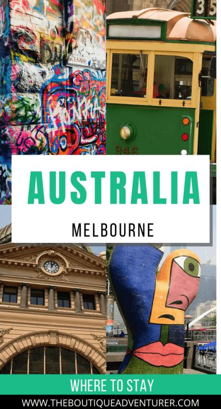 4 images of melbourne - tram, flinders street station, statue and street art