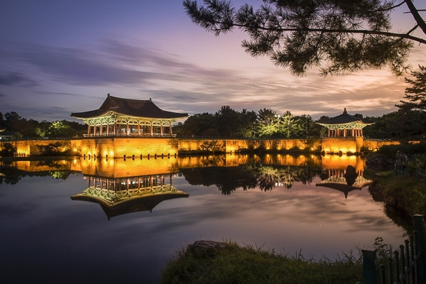 Gyeongju temple korea sunset