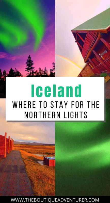 images from iceland of the northern lights, hotel and hot tubs outside