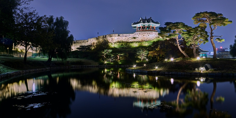 Suwon Hwaseong Fortress at night