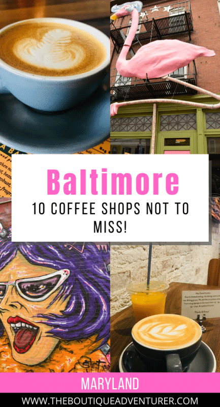 images of baltimore - coffee cups with coffee art, street art, flamingo statue